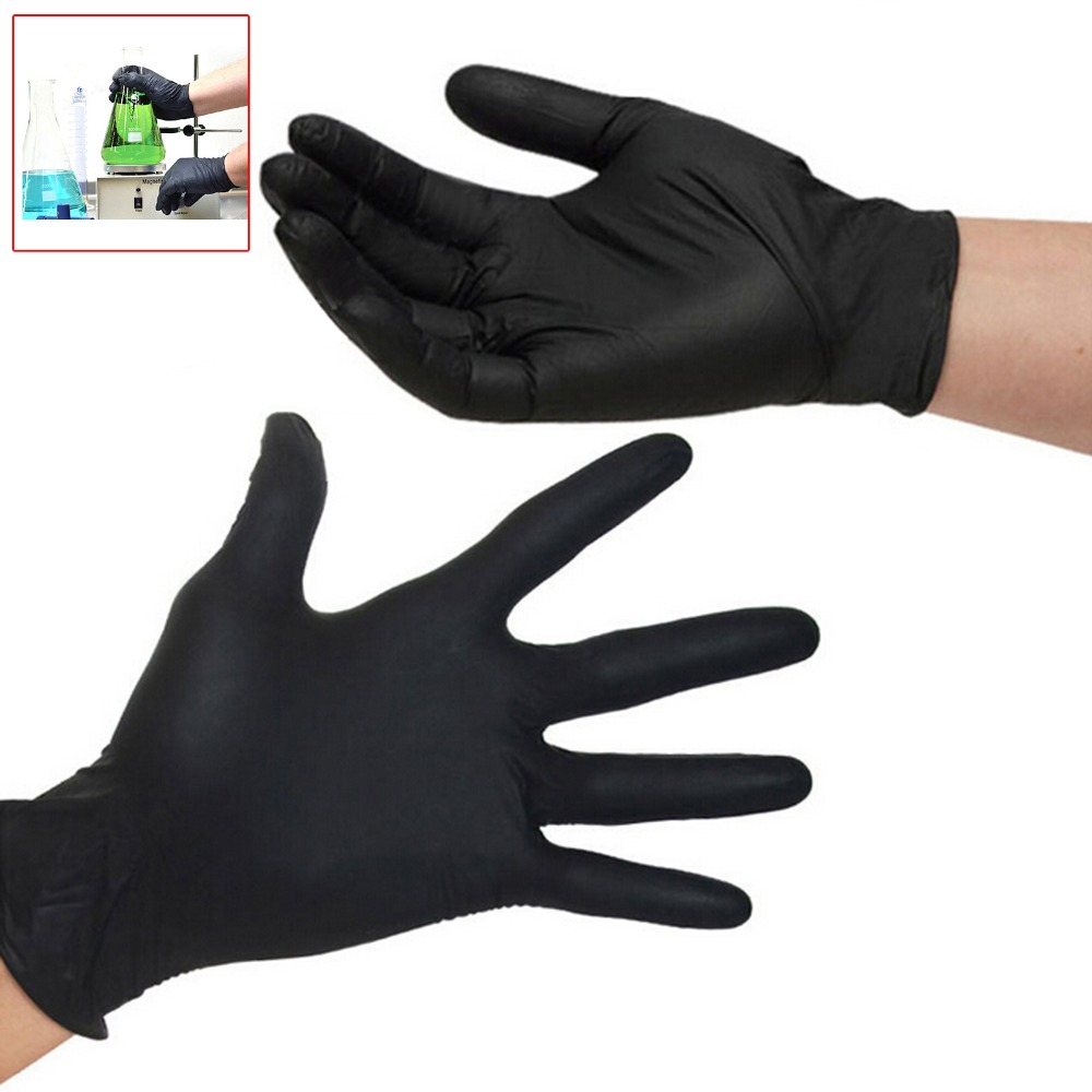 100pcs  disposable black nitrile gloves(powder free) industrial production Mechanical Maintenance working gloves