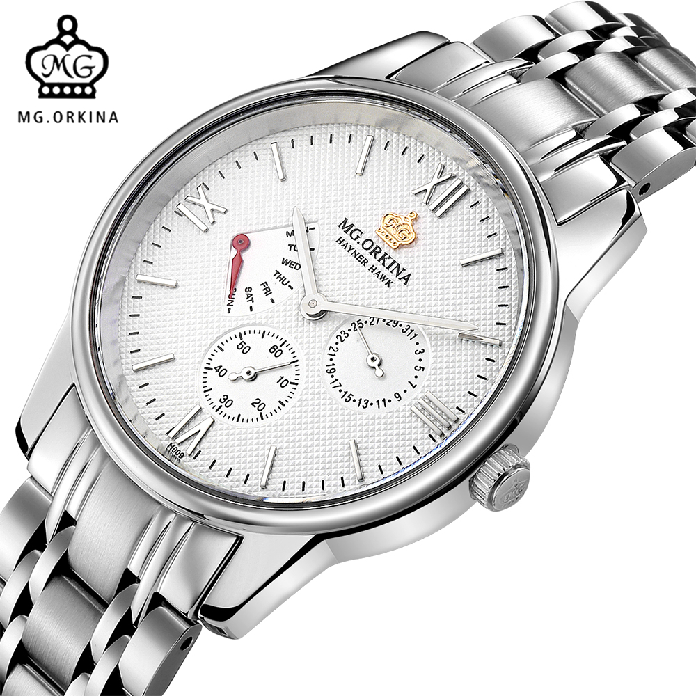 MG. ORKINA Fashion Male Clock Japan Made Quartz Movement Waterproof Watches Men Full Stainless Steel Luxury Watch Men relojes full stainless steel men s sprot watch black and white face vx42 movement