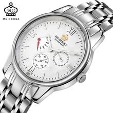 MG. ORKINA Fashion Male Clock Japan Made Quartz Movement Waterproof Watches Men Full Stainless Steel Luxury Watch Men