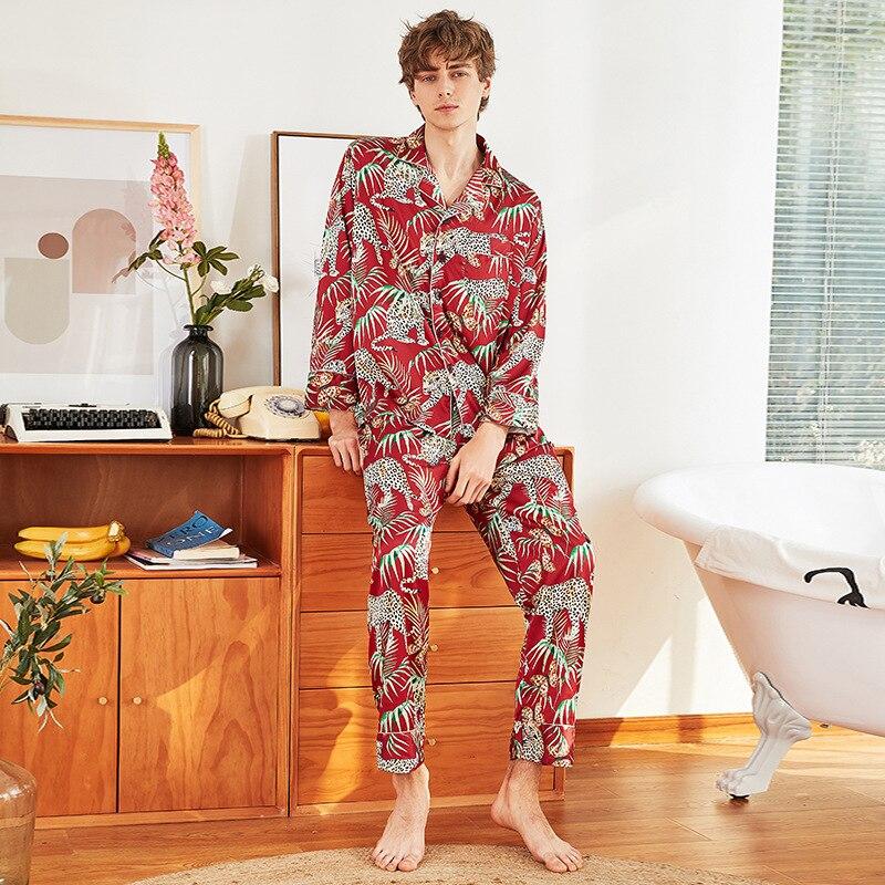 CEARPION Pajamas Set Men Nightgown Satin Silky Sleepwear Cozy Soft Loungewear Long Style Shirt&Pants Kits Home Cloth Bathrobe