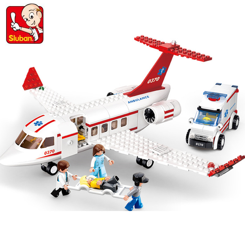 335Pcs 0370 Sluban Figures Aviation City Aircraft Medical Air Ambulance Model Building Kits Blocks Bricks Toys For Children Gift hot city series aviation private aircraft lepins building block crew passenger figures airplane cars bricks toys for kids gifts