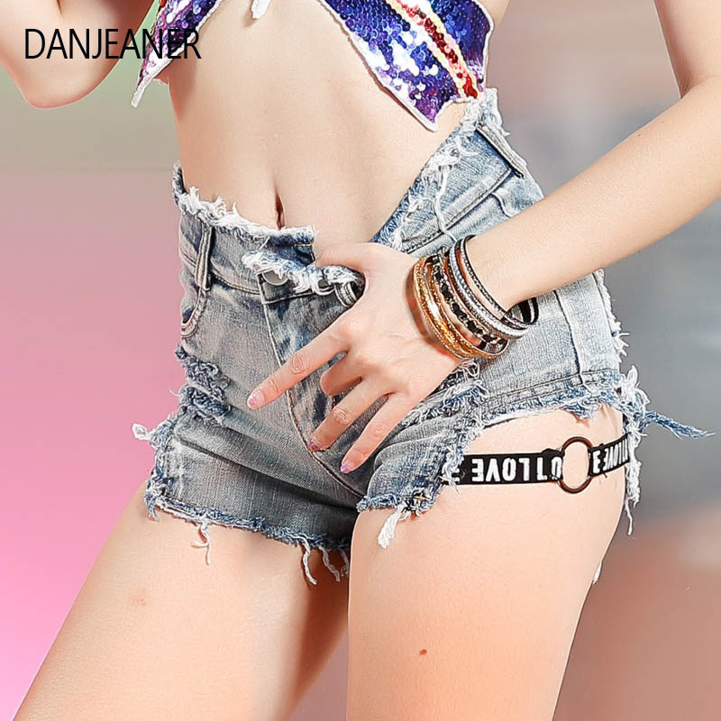 Danjeaner Summer Sexy Nightclub Denim Shorts High Waist Mini Jean Shorts Women Plus Size Skinny Mini Party Hot Pants