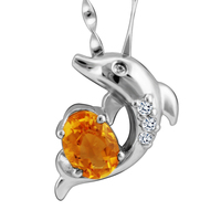 Natural Citrine Pendant Necklace 925 Sterling silver Woman Fine Gem Jewelry Dolphin Girl Birthstone Valentine Gift SP0114C
