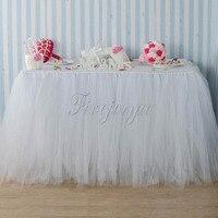 Handgemaakte Witte Kleur Tule TUTU Tafel Rok 100 cm x 80 cm voor Bruiloft Tafel Plint Event Party Baby Douche decoratie