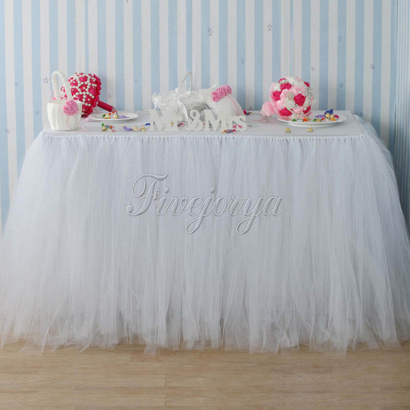 Handmade White Color Tulle TUTU Table Skirt 100cm x 80cm for Wedding Table Skirting Event Party Baby Shower Decoration