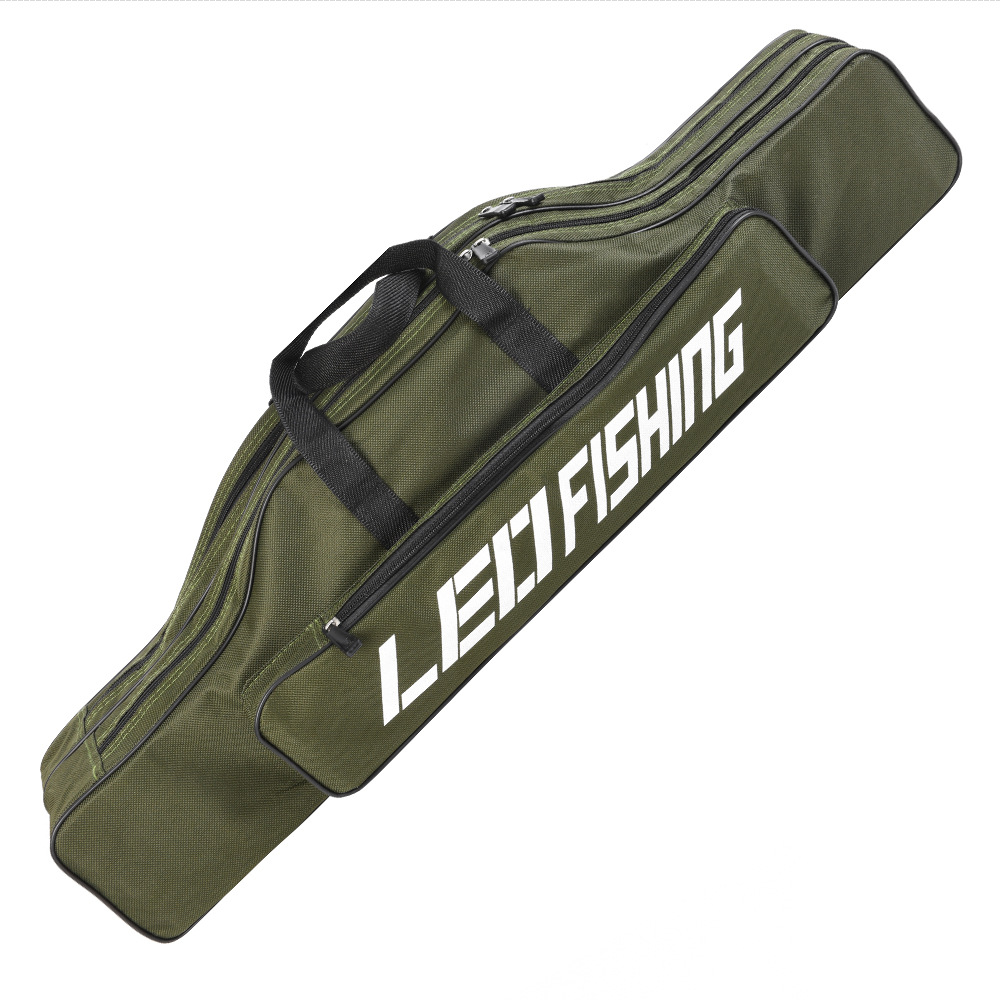 80cm Double Layer Large Capacity Collapsible Fishing Rod Bags 600D Oxford Cloth Sea Fishing Tackle Foldable