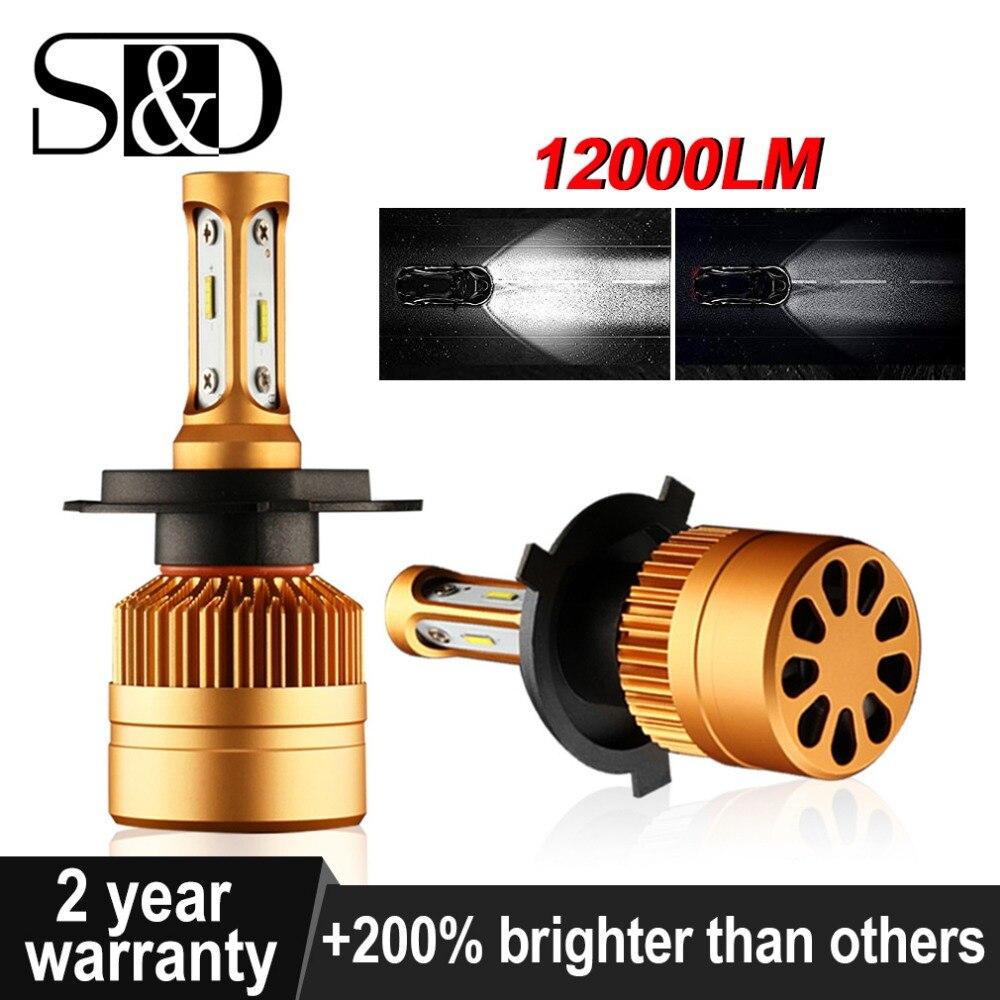 2 Pcs H4 LED H7 H11 H8 9006 HB4 H1 H3 HB3 H9 H27 Auto Scheinwerfer Lampen LED Lampe mit 1515 Chips 12000LM Auto Nebel Lichter 6000 K 12 V