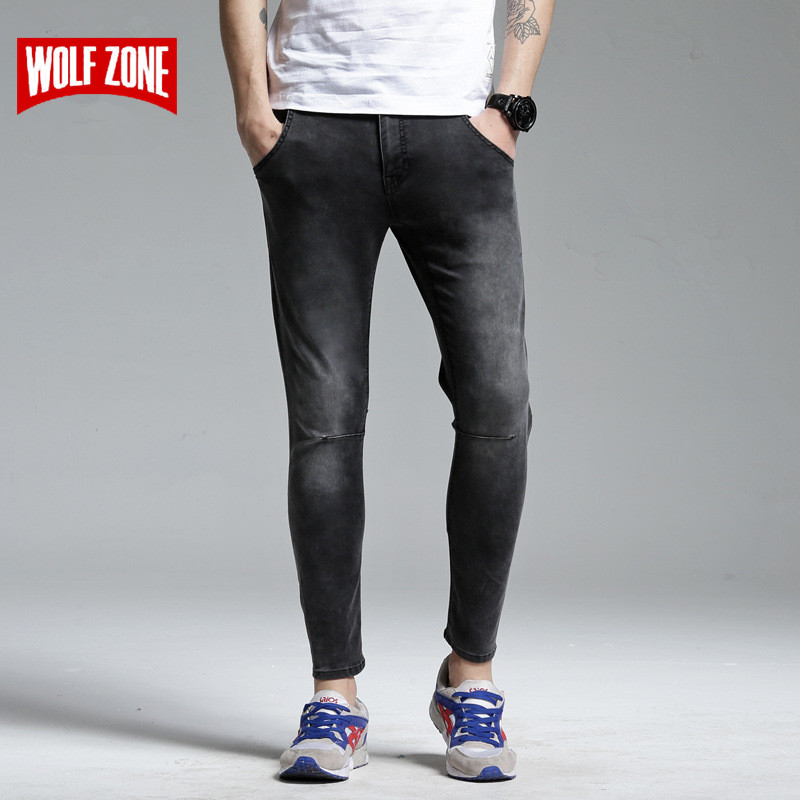 Mens Skinny Jeans Men 2017 New Brand Runway Slim Elastic Denim Biker Jeans Hiphop Full Length Mid Motorcycle Cargo Cotton Pants mens skinny biker jeans runway distressed slim elastic jeans hiphop washed men a circle of zipper and side pleated black jeans