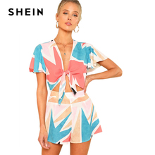 SHEIN Butterfly Sleeve Knot Front Romper Women Deep V Neck Short Sleeve Wide Leg Patchwork Geometric Playsuits 2018 Boho Romper