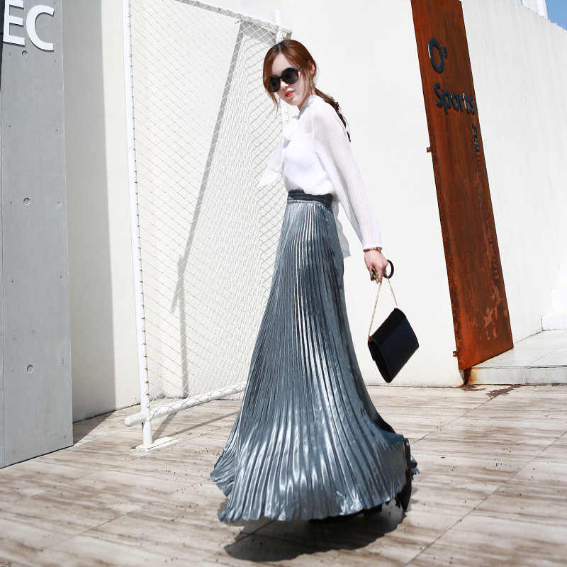 7d8a41887 2019 Summer Fashion Vintage Silver Golden metal solid flared Maxi Skirt  High Waist Beach Long Pleated