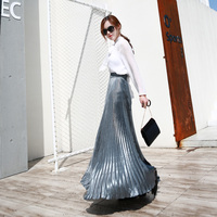 5efa9c5530e1e3 2017 Autumn Fashion Vintage Silver Golden Metal Solid Flared Maxi Skirt  High Waist Beach Long Pleated