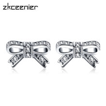 20c23534cc68 Moda plata oro espumosos arco encanto Pandora pendientes con CZ claro  pendientes para mujer