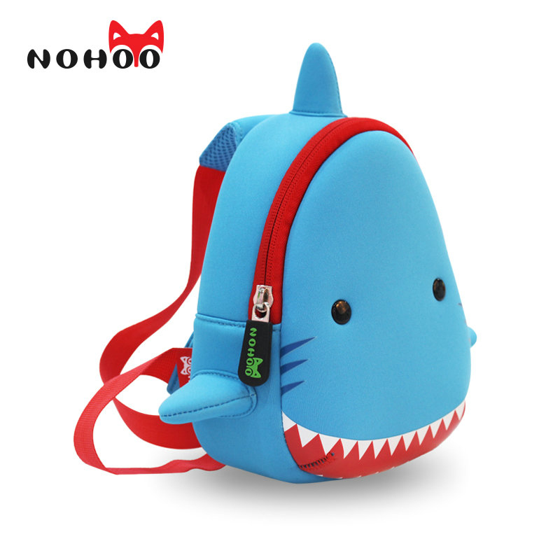 NOHOO Shark Children Cartoon Bags Waterproof School Bags For Girls Boys Neoprene Animals Kids Baby Bags чехлы для huawei mate 2