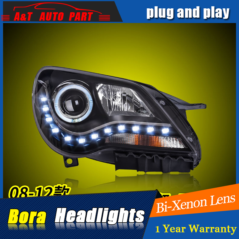 Car Styling For VW Bora headlight assembly 2008-2012 For Bora LED head lamp Angel eye led DRL front light h7 with hid kit 2pcs. car styling led head lamp for hyundai ix35 led headlight assembly 2010 2014 tuscon headlights drl h7 with hid kit 2pcs