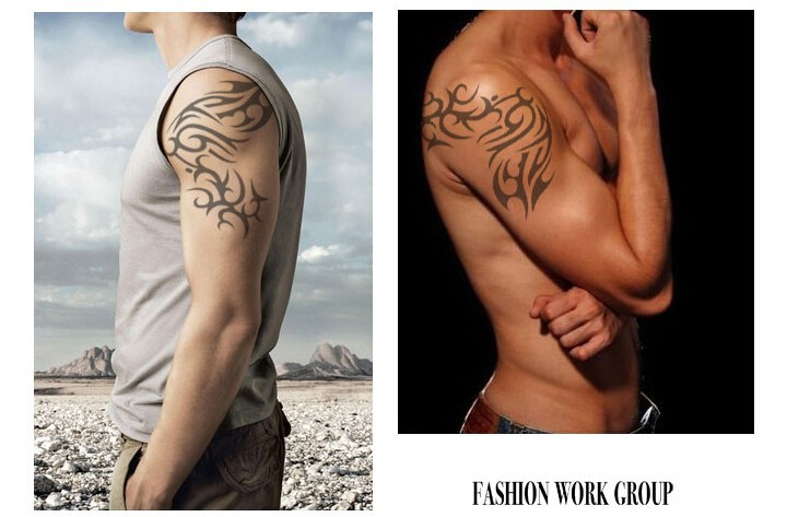 2pcs/Lot Personalily Temporary Large Tattoo Totem Waterproof Arm Big Tattoo Stickers Men Women Free Shipping 2