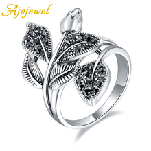 Ajojewel Size 7-9 Vintage Style Rose Bud Ring Flower Elegant Black Rhinestone Leaf Anel Party Gift