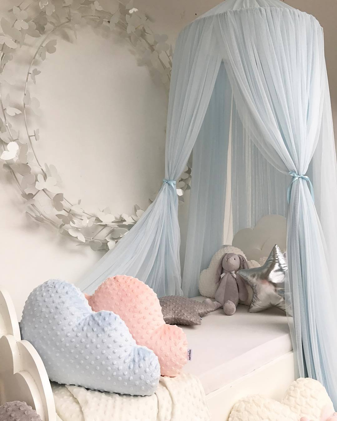 Round Baby Bed Mosquito Net Dome Hanging Gauze Bed Canopy Mosquito Net Princess Kids Crib Canopy Hanging Play Tent