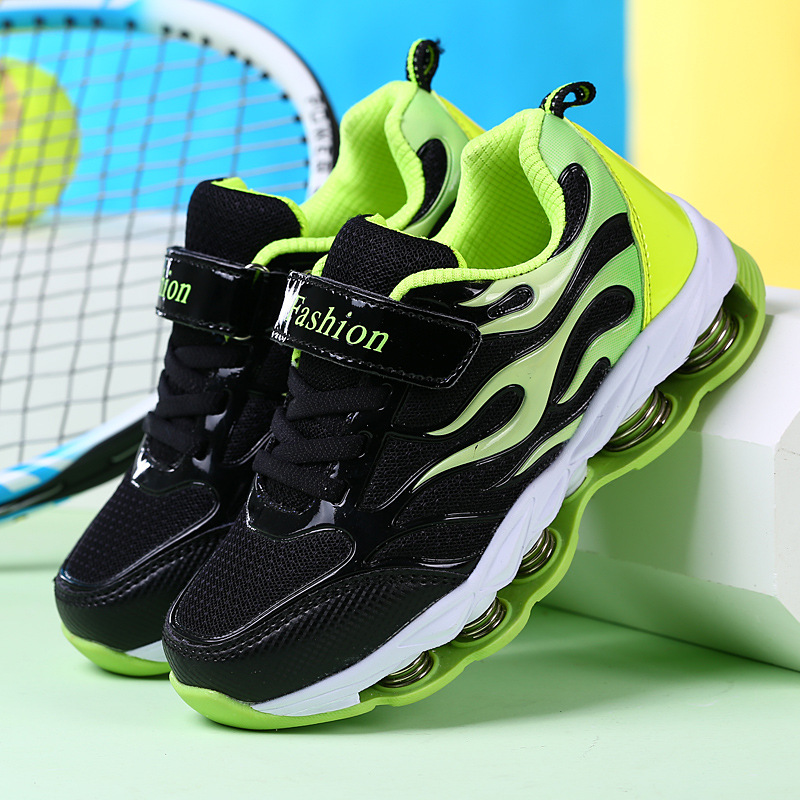 Boys Girls Shock Absorbing Spring Trainers Shoes Child Kids Sports Shoe Sneakers