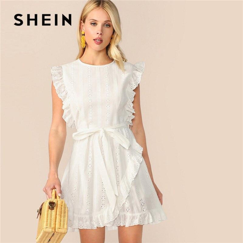 Шеин рюшами отделкой поясом обёрточная бумага Schiffy Мини белое платье для женщин Boho повседневное хлопок без рукавов Круглый средства ухода