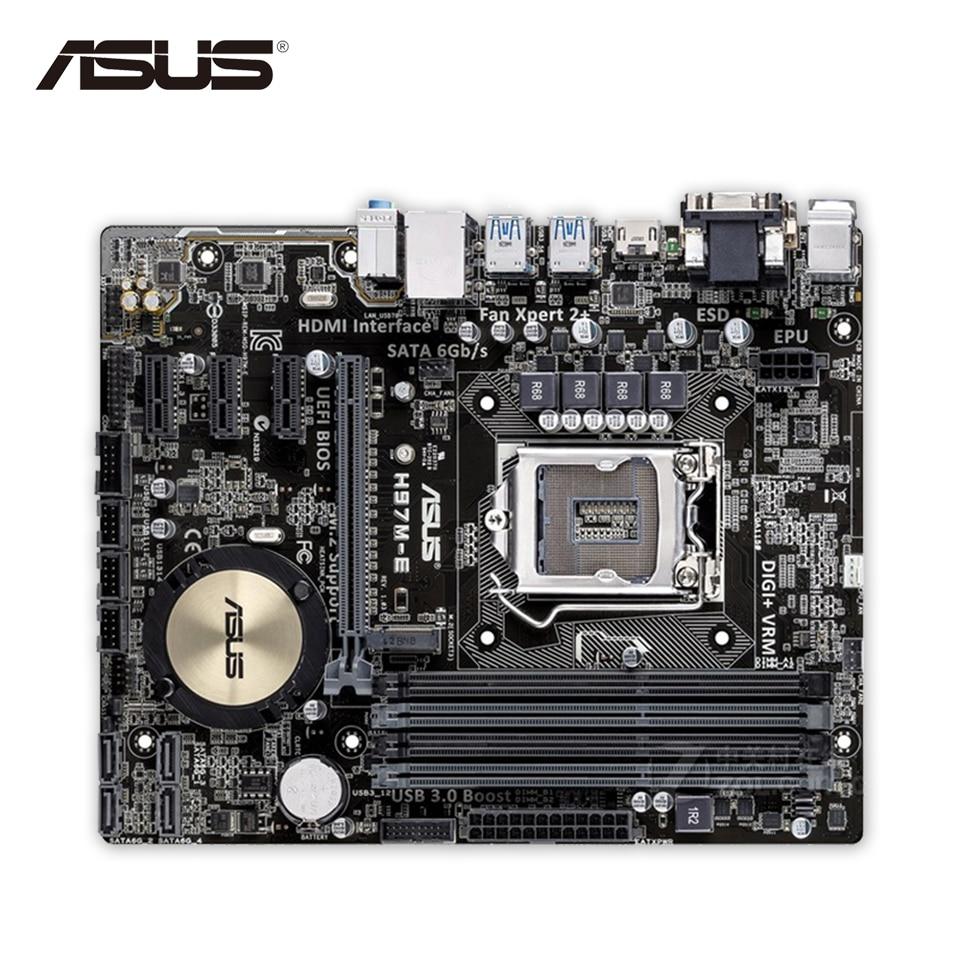 Asus H97M-E Original Used Desktop Motherboard H97 Socket LGA 1150 i7 i5 i3 DDR3 16G  UBS3.0 Micro-ATX for asus p6td deluxe original used desktop motherboard for intel x58 socket lga 1366 for i7 ddr3 sata2 usb2 0 atx