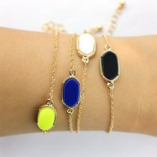 Mini Oval Brand Cute Bracelets for Women Gold Tone 17 Colors Option