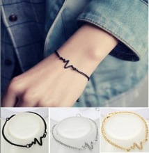 New Korean Fashion Gold/Silver/Black Electrocardiogram Alloy Adjustable Charm Bracelet Female Personality Jewelry Accessories