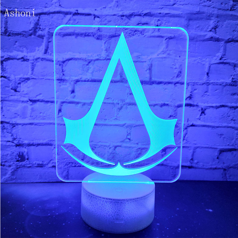 Assassin's Creed 3D LED Night Light 7 Colors Change Desk Table Lamp Bedroom Sleep Lighting Fixture Home Decor Kids Gifts