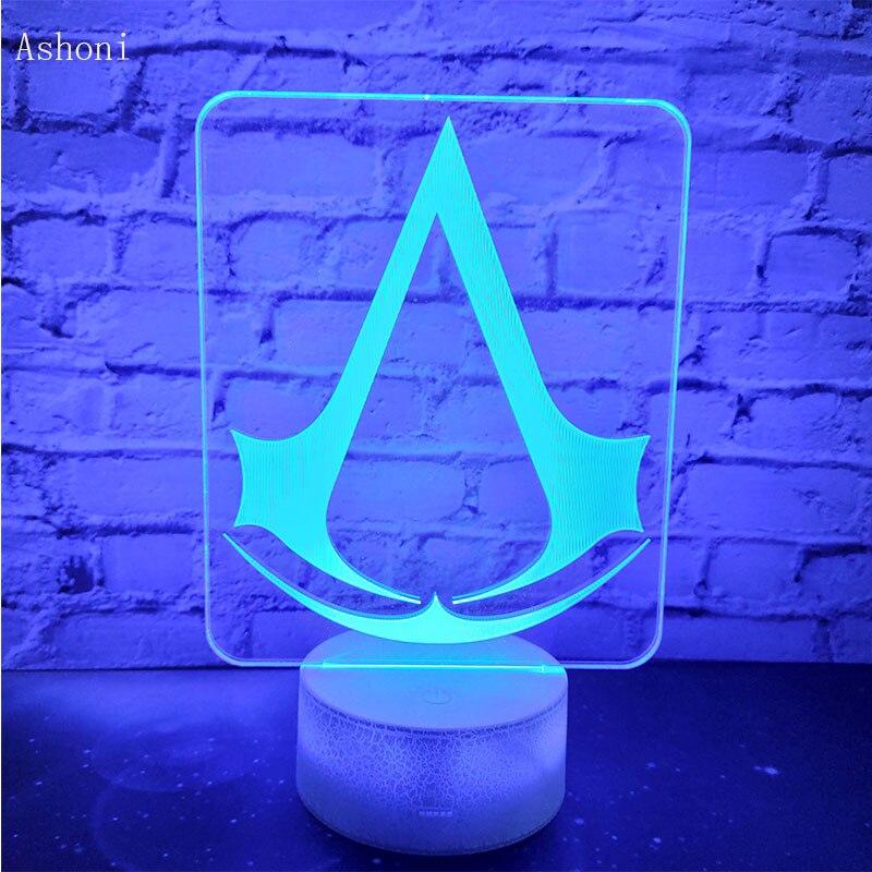 Assassin's Creed 3D LED Night Light 7 Colors Change Desk Table Lamp Bedroom Sleep Lighting Fixture Home Decor Kids Gifts