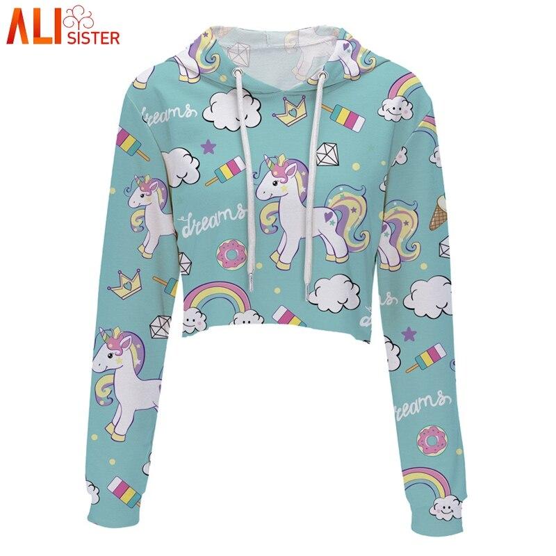 Alisister Unicorn Print Cute Hoodies Sweatshirt Wom