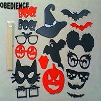 OBEDIENCIA 17 unids/set Bat Calabaza Gafas Labio Photo Booth Atrezzo Decoraciones De Halloween Sombrero Divertido Regalos Suministros Para El Hogar