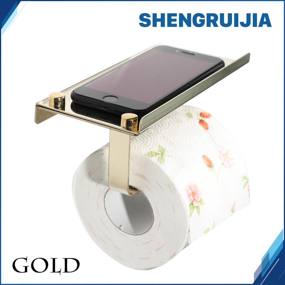 free shipping gold holder toilet with shelf Stainless steel WC paper holder bathroom Mobile phones toilet roll tissue holder everso wall mounted toilet paper holder with shelf stainless steel toilet roll paper holder tissue holder bathroom accessories