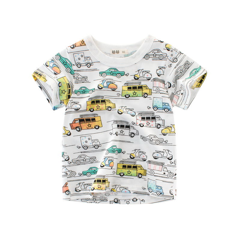 Childrens Wear Summer Baby Boys Short Sleeved Full Car Cartoon Children T-shirt Printing Toddler Cute Fashion Cotton Clothes