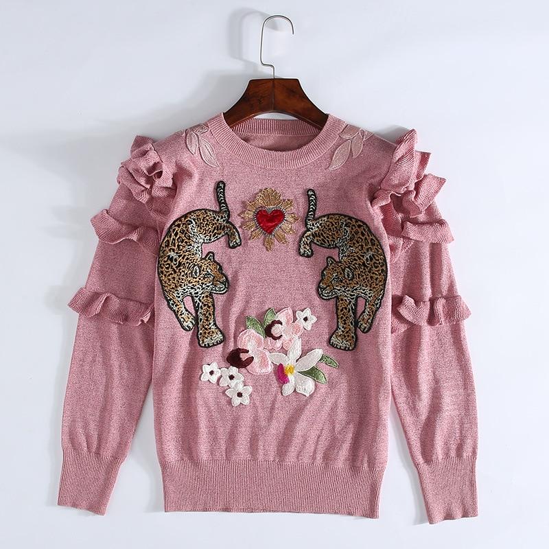 2019 hiver noël Animal broderie rose chandails tricotés pulls femmes conception de piste à volants vêtements élégants dame vêtements