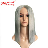 Ali Amazing Hair 250% Density Grey Short Human Hair Bob Wig Straight Lace Front Wigs With Baby Hair Blunt Bob Remy Virgin Hair