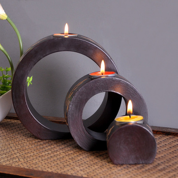 Retro Handmade Wooden Candle Holder Candlestick Stand Dinner Table Wedding Party Home Sculpture Decoration Art Gift