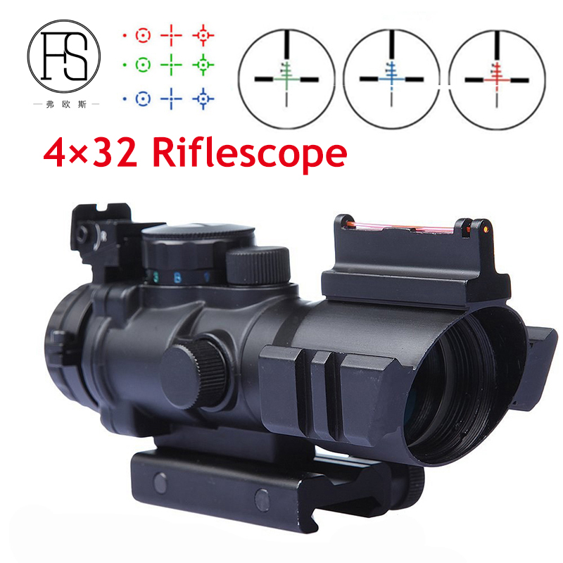 Hot Sale Tactical 4X32 Red Green Dot Sight For Air Rifle Optic Reticle Riflescope 20mm Rail Use Hunting Shooting Sight Scope for sale leica green tribrach