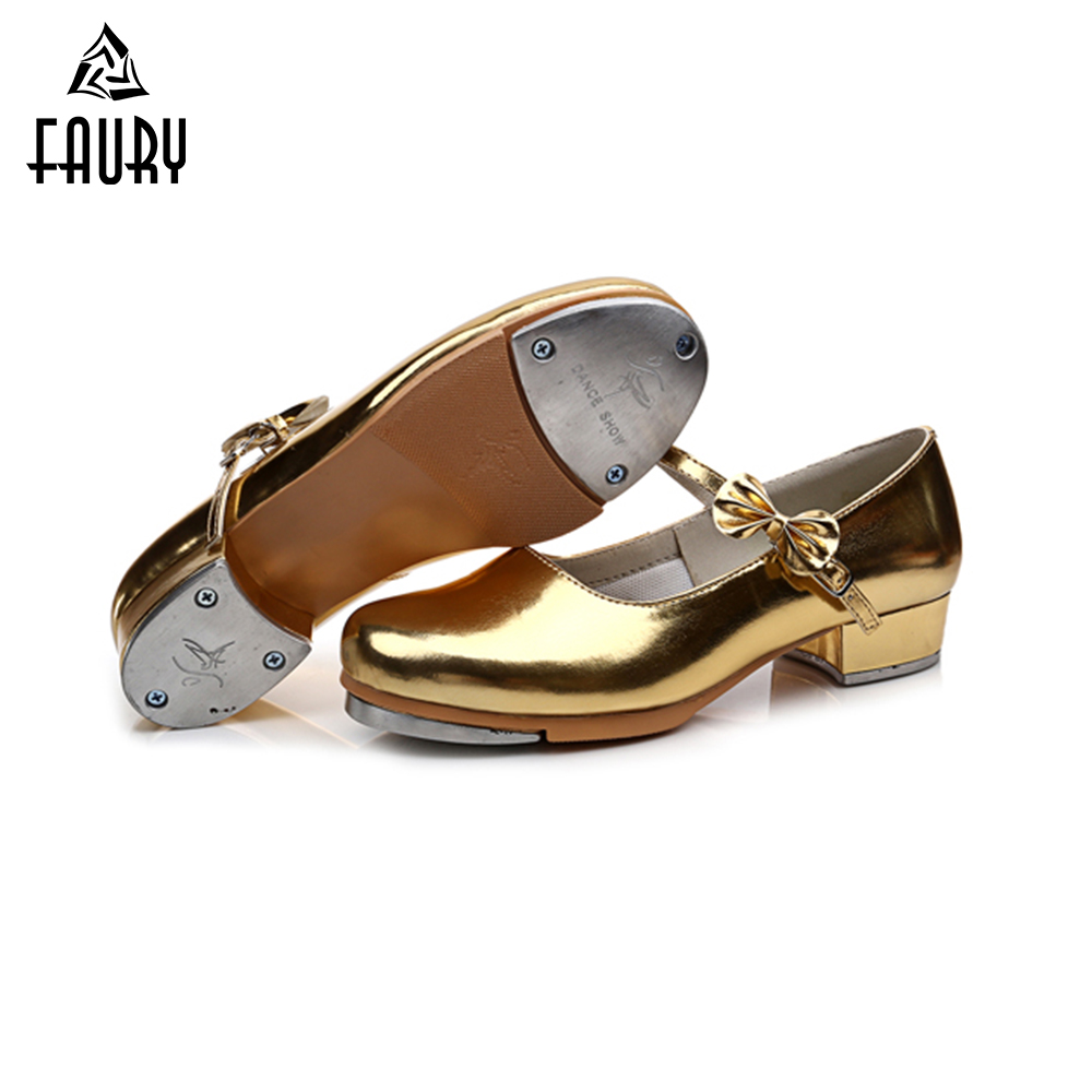 2018 New Women Girls Tap Dance Shoes Shiny PU Leather Kids Children's Practice Step Dance Shoes Teacher Stage Shoes High Quality