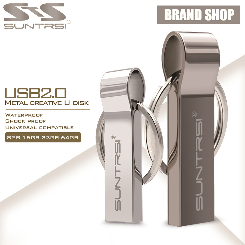 Suntrsi USB Flash Drive 64GB Metal Steel Pen Drive High Speed Pendrive Key Chain USB Stick Flash Drive Memory USB Flash Freeship suntrsi usb flash drive 64gb 32gb 16gb high speed usb 3 0 waterproof pendrive 8gb usb stick pen drive real capacity free ship