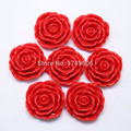 Free Shipping 30Pcs/Lot Red 45MM Large Rose Resin Flower Beads With Hole For Kid Girl Chunky Necklace Jewelry