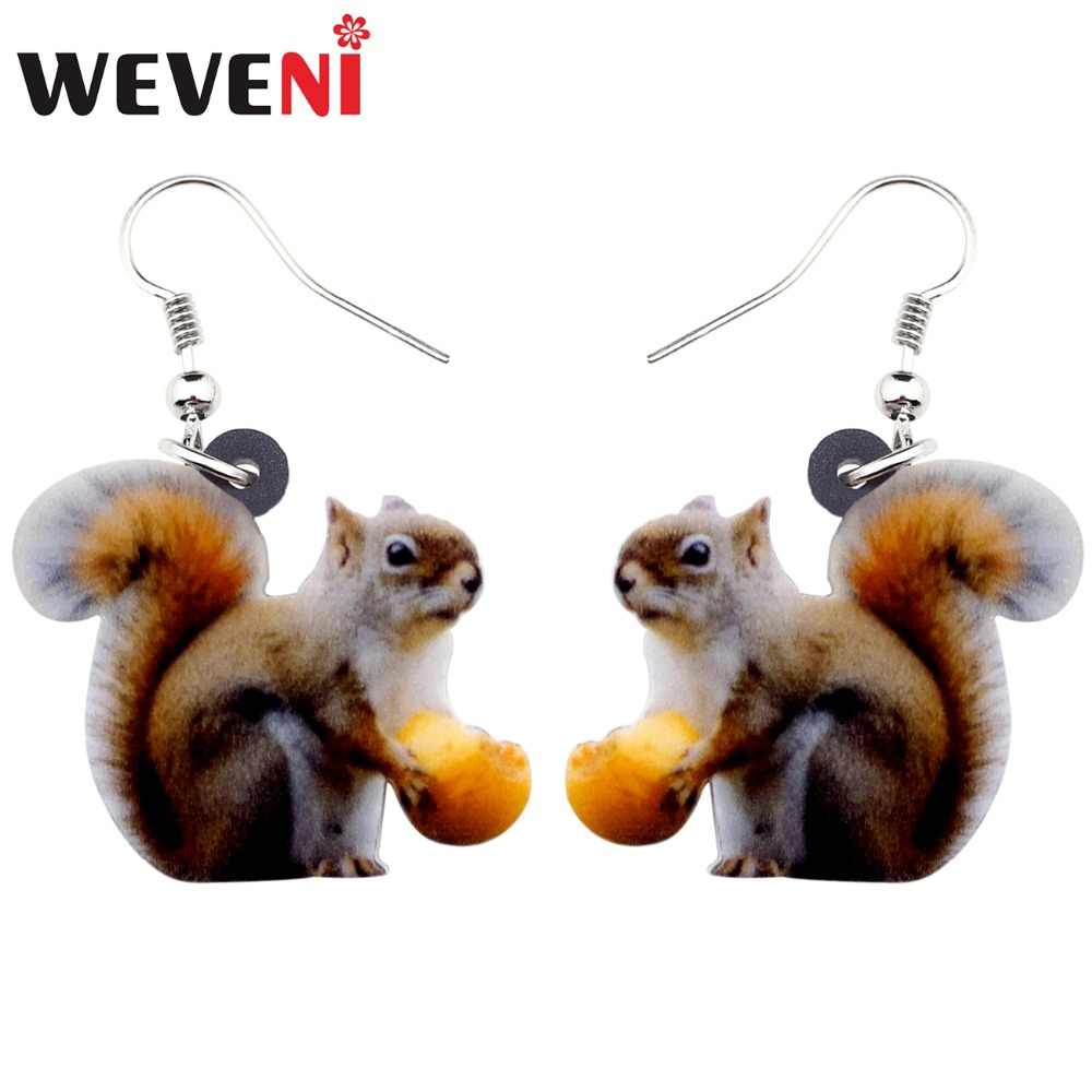 WEVENI Acrylic Sweet Nut Squirrel Earrings Big Long Dangle Drop Forest Animal Jewelry For Women Girl Ladies Teens Wholesale Gift