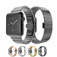 Bands For Apple Watch 42mm 38mm Stainless Steel Replacement Watch Band With Butterfly Buckle Clasp Strap