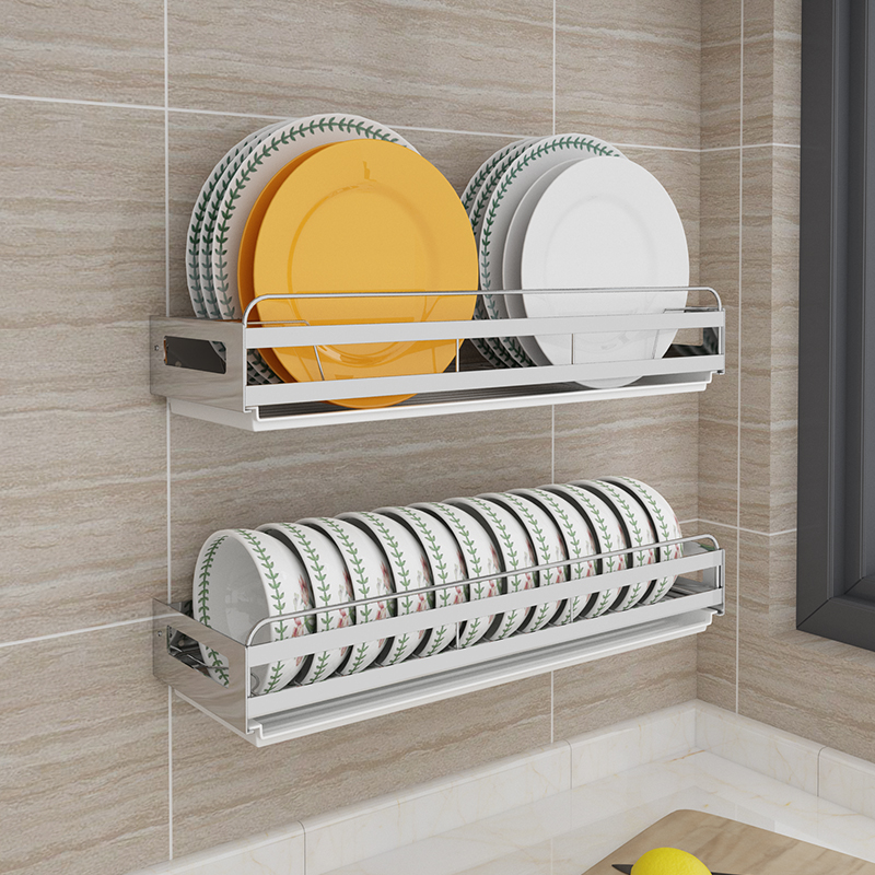 Dish Rack Drain Rack Wall Mounted Punch Free Stainless