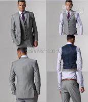 2016 Diseño Slim Fit Gris Claro de la Raja Del Lado Dos Botones Muesca Solapa Esmoquin Del Novio de Los Hombres Trajes de Chaqueta de Traje de Hombre de Negocios + Pants + Tie + Vest