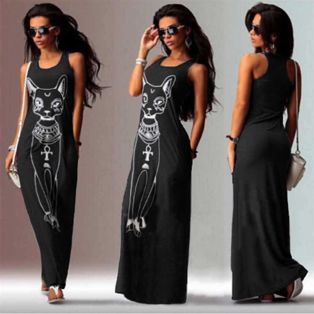 Casual Women Cat Prints Fits Long Sexy Dress Boho Long Maxi Party Beach Dress Vest european clothing womens TONSEE