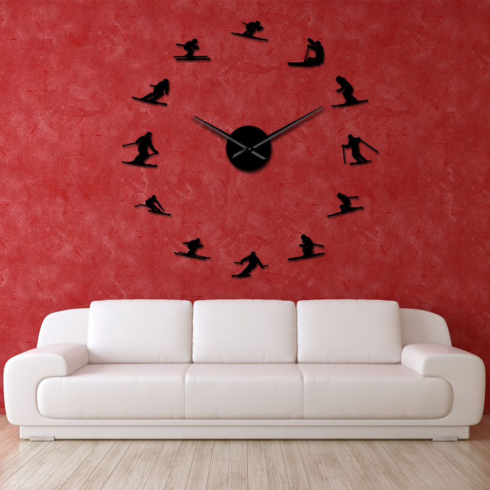 Outdoor Winter Sports DIY Large Wall Art Skiing Living Room Decor Frameless Wall Clock Mountain Skier Hanging Watch Timepieces