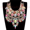 2015 Chic Antique Metal Rhinestones Retro Collar Statement Necklaces Women Short Vintage Necklaces Indian Jewelry