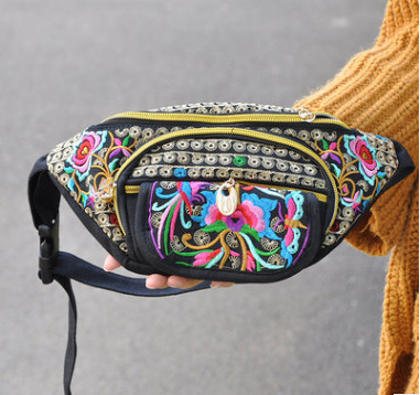 New Floral Embroidery Women Waist bags!Hot All-match Vintage embroidery Carrier canvas waist packs traveller portable Shopping vintage embroidery decorated ring