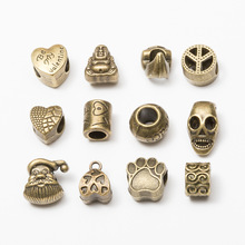 10pcs Bronze Metal Big Hole Tube Spacer Beads for Jewelry Making Heart Skull Charms Bracelet Pendant Bails Clips DIY Handmade