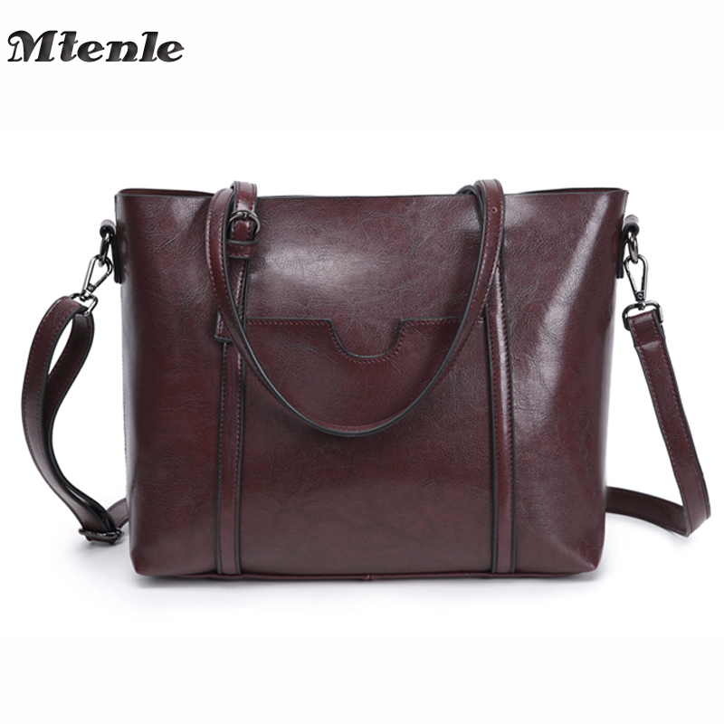 MTENLE Leather Bags Handbags Women'S Famous Brands Bolsa Feminina Big Casual Women Bag Female Tote Shoulder Bag Ladies Large FI brand designer large capacity ladies brown black beige casual tote shoulder bag handbags for women lady female bolsa feminina