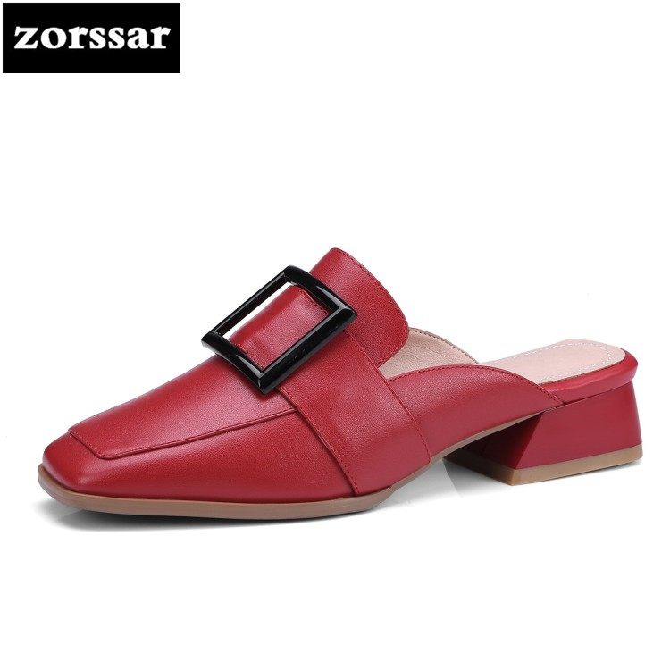 {Zorssar} Genuine Leather Casual flat mules shoes women slippers sandals 2018 New Woman Slides shoes Summer Female Footwear flats slippers suede pink sandals mary jane genuine leather pointy summer slides designer shoes women luxury 2018 mules gray
